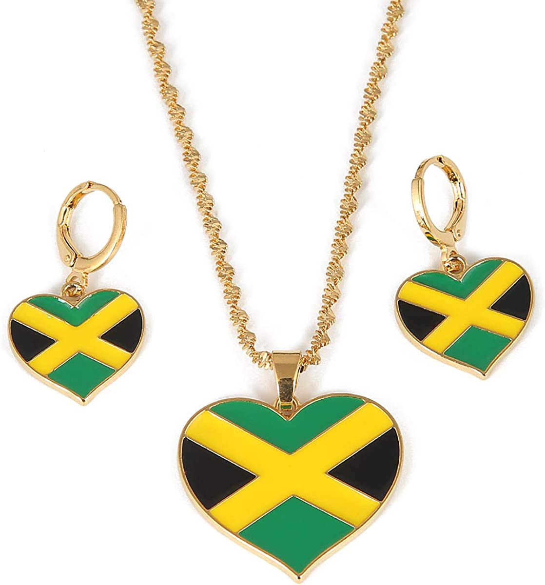 Jamaica Heart Map National Flag Pendant Necklaces Earrings Jewelry Jamaican Gifts