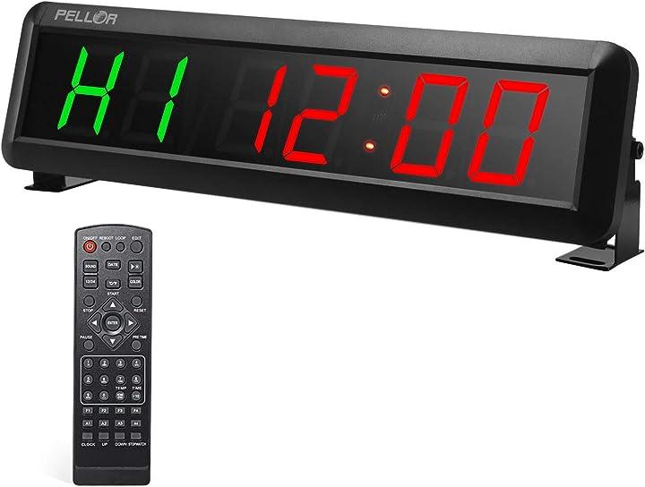 Orologio da palestra pellor orologio da parete led,formato orario 12/24 ore cronometro e timer con telecomando BO-REGP01-C