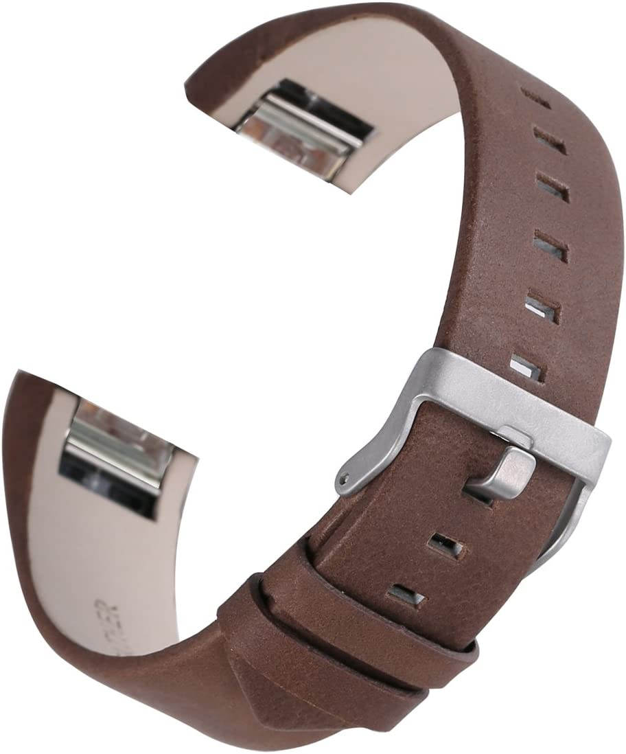 bayite Leather Bands Compatible with Fitbit Charge 2, Replacement Accessories Straps Women Men