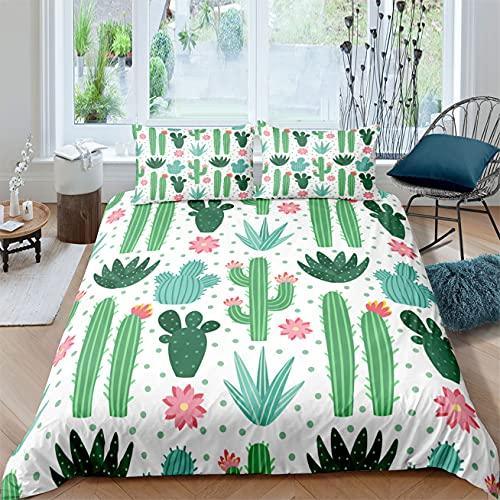 Rayas Blancas y Negras Cactus 3D Estilo Tropical Amarillo Verde Dibujos Animados Cactus Patrón Juego de Ropa de Cama Funda Nórdica con Funda de Almohada,Poliéster (Verde, Cama 105 cm)
