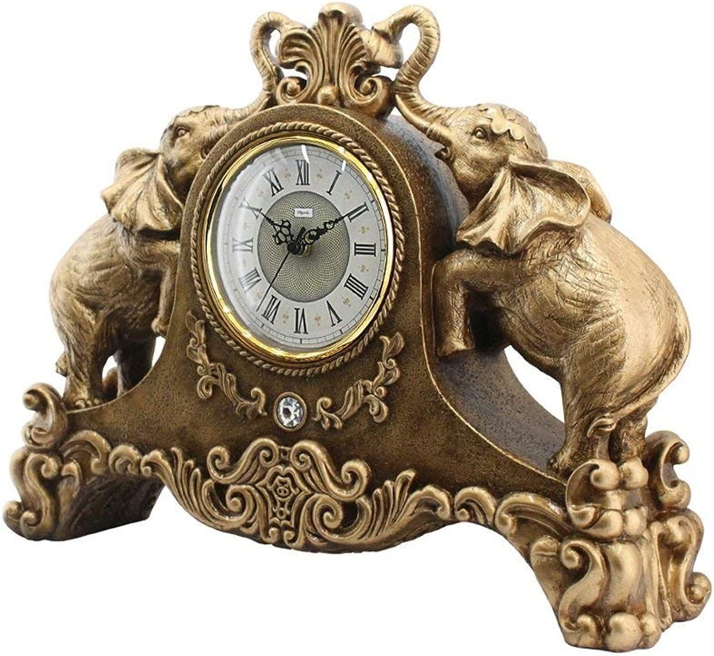 デスククロックファミリークロックヨーロッパの創造的な象の置時計リビングルームのための刻々と過ぎないサイレント樹脂の机の装飾的なクロック