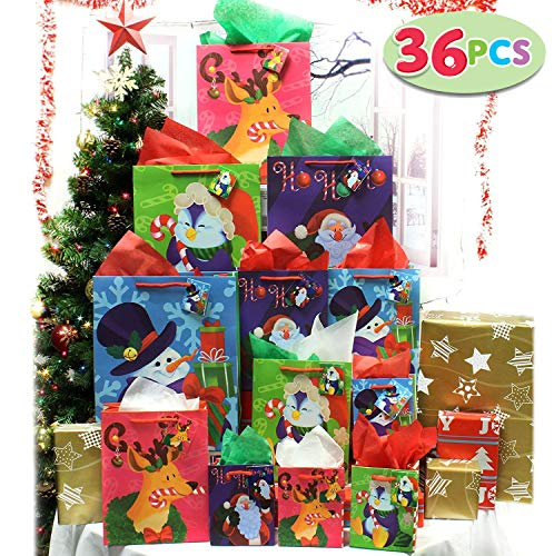 36 Pcs Christmas Holiday Gift Bags Set with Wrapping Papers and Tissue Paper for Christmas Gift Decoration Holiday Gift Wrapping School Classrooms Party Favors
