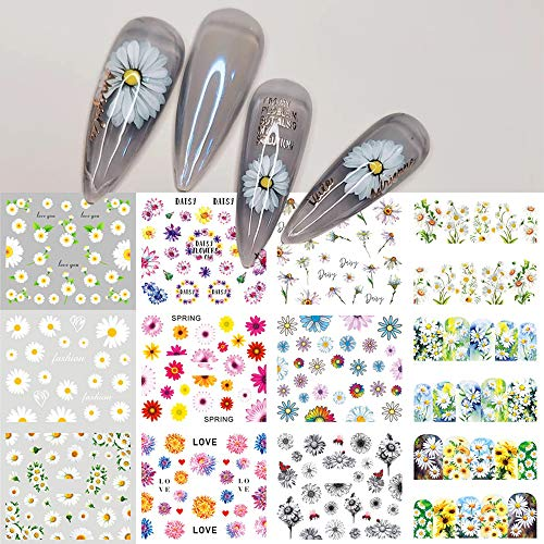 Daisy Flower Nail Water Stickers Decals Sunflowers Nail Art Supplies Foil Tattoo Full Cover Wrap Spring White Colorful Blossom Slider Summer Charms Design for Manicure Nail Art Watermark Decorations