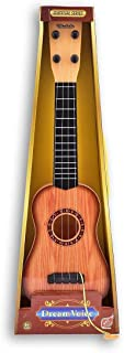 DP Endeavors Toys 4 String Wooden Finish Acoustic Learning and Education Musical Guitar with Adjustable Tuning Knobs
