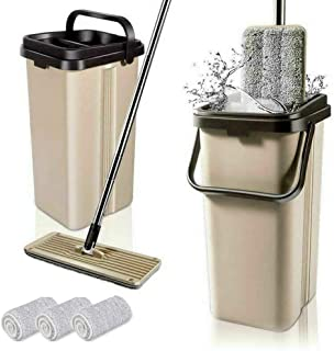 BOOMJOY F11 Microfiber Flat Mop with Bucket, Cleaning Squeeze Hand Free Floor Mop, Stainless Steel Handle with 3 Reusable ...