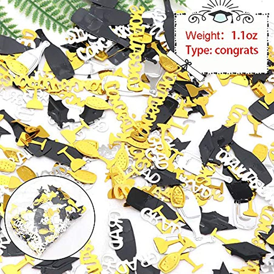 Huture 2019 Graduation Confetti Table Embossed Foil Scatter Grad Party Decoration Celebration for Grad Star Shaped Goblet Cap Diploma Gold Blue Black Silver Mix Color, 1.1 oz