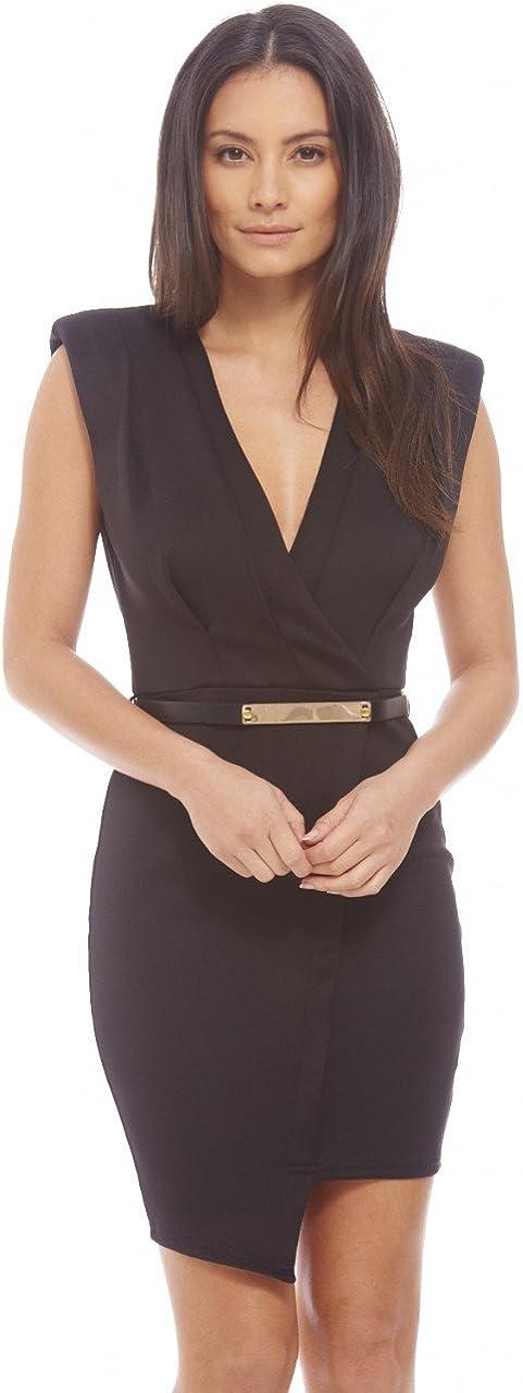 AX Paris Women's Wrap Front Asymmetric Dress