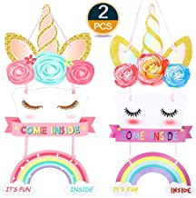 Lingpeng 2Pack Unicorn Birthday Party Supplies- Happy Birthday Door Sign Magical Rainbow Girl Birthday Party Decoration