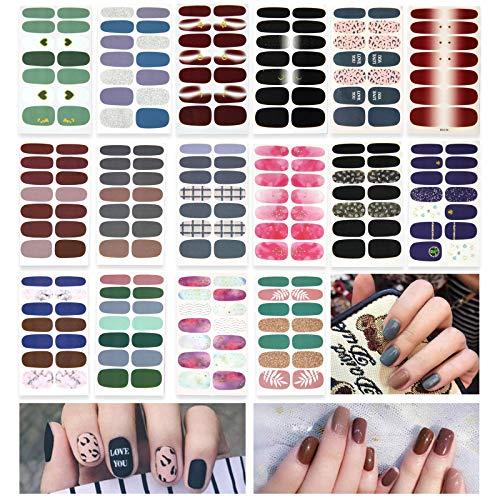 LATTCURE Nagelsticker, Nagelaufkleber, Nagelkunst Sticker, Selbstklebende Nagelfolie, Nail Art Aufkleber Schöne Mode DIY Dekoration 16 Blatt Nagelsticker