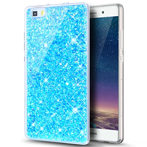 ikasus Coque Huawei P8 Lite Etui Silicone Etui Housse TPU avec brillant paillettes bling diamant glitter Silicone Gel TPU Souple Housse Etui Protection Case Coque pour Huawei P8 Lite,Bleu