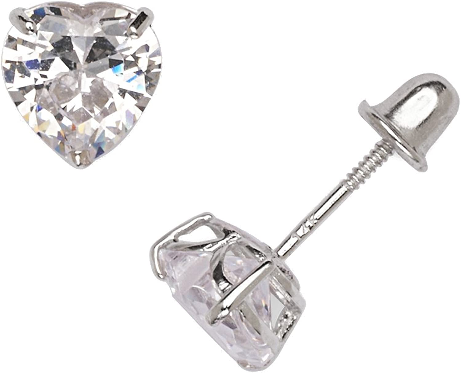Details about  /14K Solid Yellow and White Gold CZ Bezel Heart Shape Stud Earrings  **