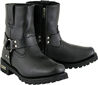 Xelement 2502 `Shorty` Women`s Black Zipper Harness Motorcycle Leather Boots - 7