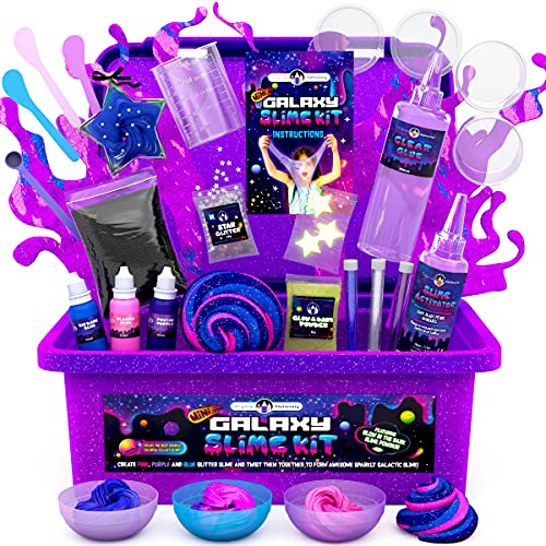 Original Stationery Mini Galaxy Slime Kit with Glow in The Dark Slime Powder to Make Glitter Slime & Galactic Slime Kit for Girls 10-12