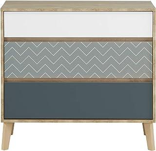Meubletmoi Commode 3 tiroirs décor chêne Beige, Blanc, Bleu - Design scandinave Rangement Chambre - Collection Sidoine