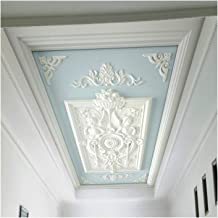 YOUPIN European Style 3D Embossed Ceiling Mural Wallpaper Modern White Gypsum Flowers Photo Wall Paper Living Room Hotel C...