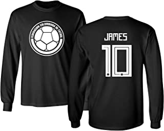 Colombia 2018 National Soccer #10 James Rodriguez World Championship Men's Long Sleeve T-Shirt