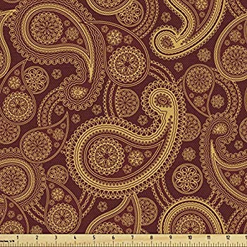 Lunarable Paisley Fabric by The Yard Romantic Old Fashioned Leaf Motifs Vintage Design Royal Victorian Revival Decorative Fabric for Upholstery and Home Accents 1 Yard Burgundy Mustard