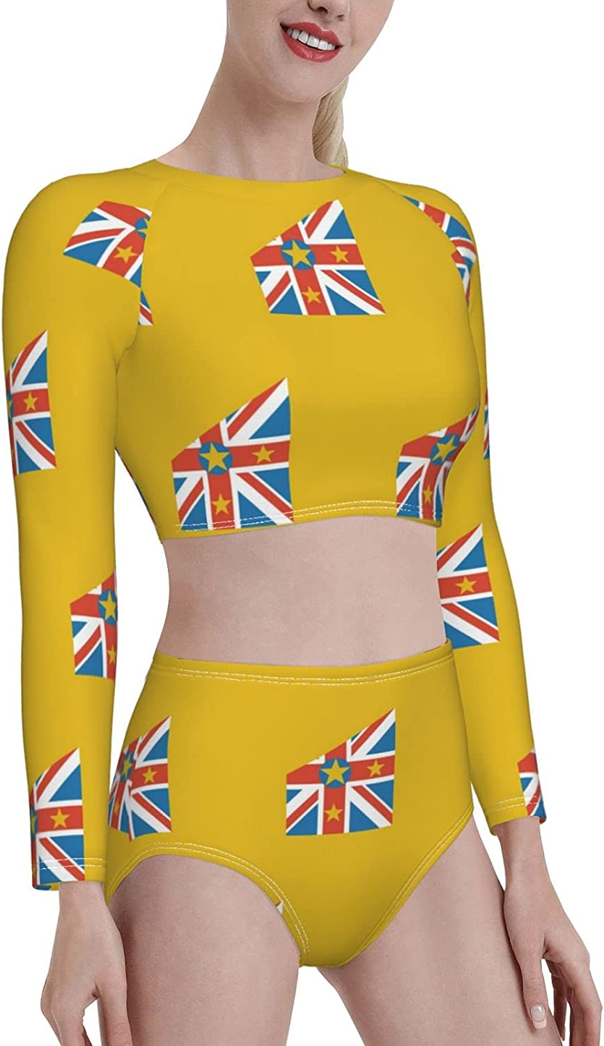 Retail Sign Systems Niue Flag Womens Two Piece Swimsuit Long Sleeve Rash Guard Swimwear