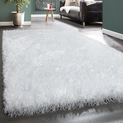 Paco Home Moderner Wohnzimmer Shaggy Hochflor Teppich Soft Garn In Uni Weiß, Grösse:160x230 cm