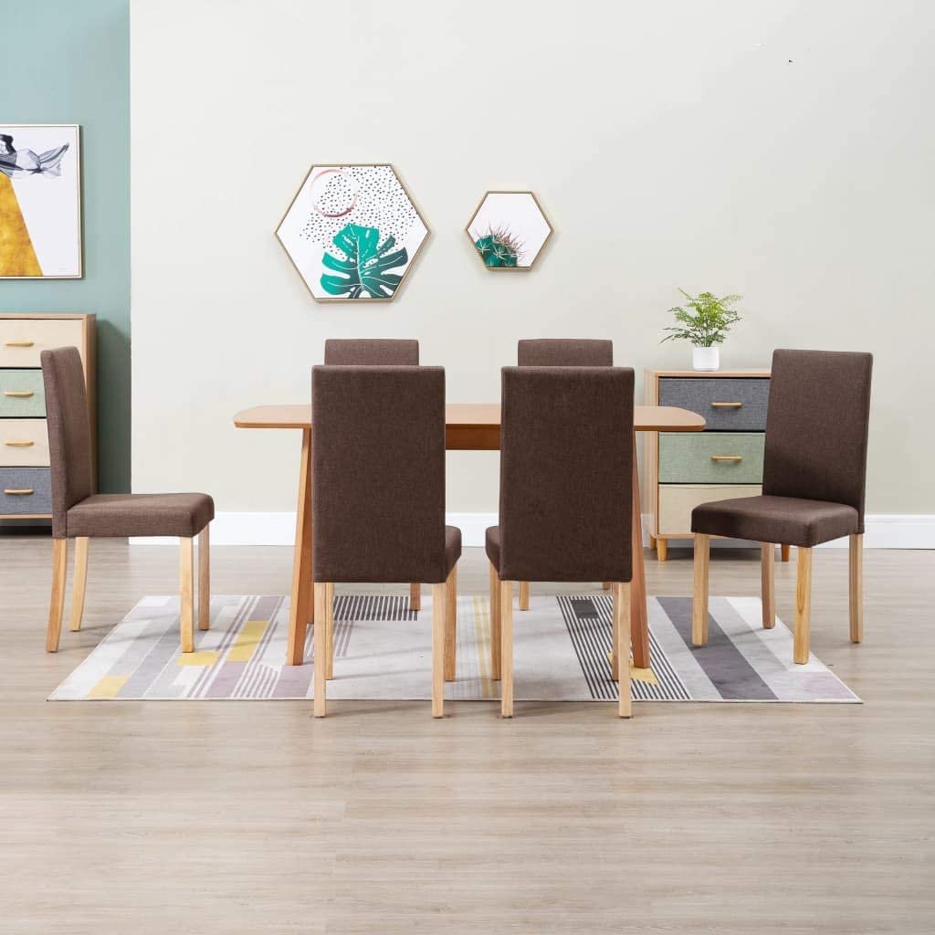 Austin Mall Gorgeous NusGear Dining Chairs 6 Fabric -237 pcs Brown