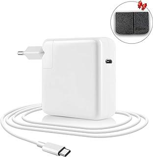 ZIMER Compatible con Macbook Pro USB C Cargador 61w, reemplazo Nuevo Mac 13 pulgadas de 2016 2017 2018 PD Type C Cargador con cables de carga de 2M y enchufe de la UE para otro dispositivo USBC.