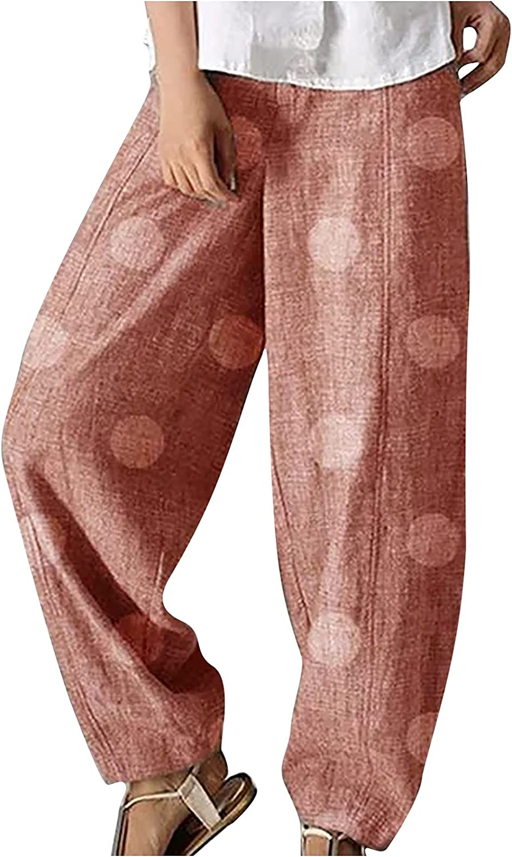 Loose Fit Pants for Women's Cotton Linen Pants Casual Dot Print Wide Leg Elastic Waist Beach Trousers
