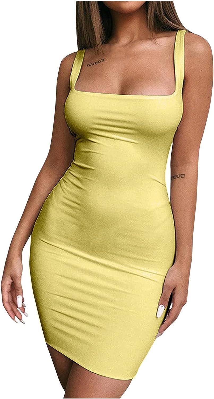 BIBOKAOKE Women's Bodycone Mini Dress Summer Sexy Solid Color Spaghetti Strap Club Mini Dress T Shirts Dresses