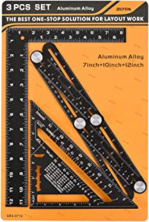 3 in 1 Angle Template Tool Kit, ZOTA Multi Angle Measuring Ruler,7-inch Rafter Square, 12-inch Framing Square, Heavy Duty Aluminum Alloy with Laser Etched Markings
