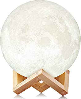 Uten Moon Light - 3D Printed Moon Lamp, Rechargeable LED Nightlight 3-8 Hours Light Duration Room Decoration for Any Festivals, Parties, etc. [15cm/5.9inch]