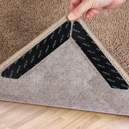 VOFUSHON Pinzas para Alfombras, 24 Piezas de Cinta Antideslizante para alfombras, Cinta Antideslizante Reutilizable y Lavable para Suelos de Madera,Reparador de Esquina de Alfombra(Negro )