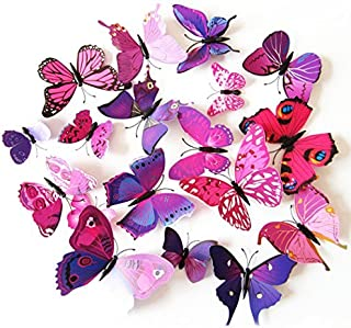 Coxeer 3D Butterfly Wall Decor, Removable Butterfly Wall Art Vivid Butterflies Wall Decor with Foam Dot Glue for Home and Room Decoration (Purple)