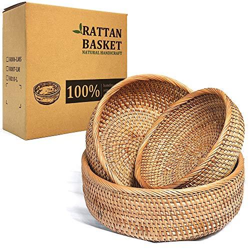 LDG Bread Serving Basket 3 Size Wicker Fruit Basket Rattan Storage Basket Handmade Basket Decorative Bowl (Flat Edge-LMS, 3pcs)