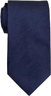 Remo Sartori - Cravatta Blu Tinta Unita Motivo Spigato in Seta, 8 cm, Made in Italy, Uomo