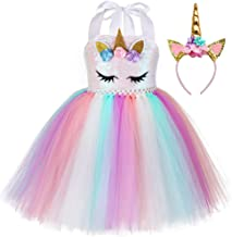 Birthday Party Unicorn Sequins Costume for Girls Halloween Rainbow Tutu Dress Outfits