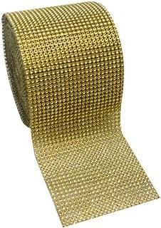 Super Z Outlet ZT684 Acrylic Rhinestone Diamond Fabric Ribbons, Gold