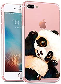 iPhone 7 Plus Case, Cute Panda Mermaid Pattern On Soft TPU Silicone Protective Skin Ultra Slim Clear with Animal Design Gift Bumper Cover for iPhone 8 Plus,Panda hi