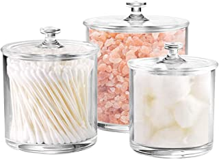 LOKQING 6-Ounce, 12-Ounce and 20-Ounce Plastic Apothecary Jars with Lids Set of 3