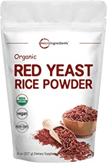 Micro Ingredients Organic Red Yeast Rice Powder, 8 Ounce, Powerfully Support Cardiovascular and Immune System, Non-GMO and Vegan Friendly