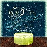Lámpara de noche Simba de Ilusión Óptica 3D El Rey León 16 Cambio de Color Decoración Lámpara - Juguetes y Regalos para Niños Niñas y Abanicos de Anime