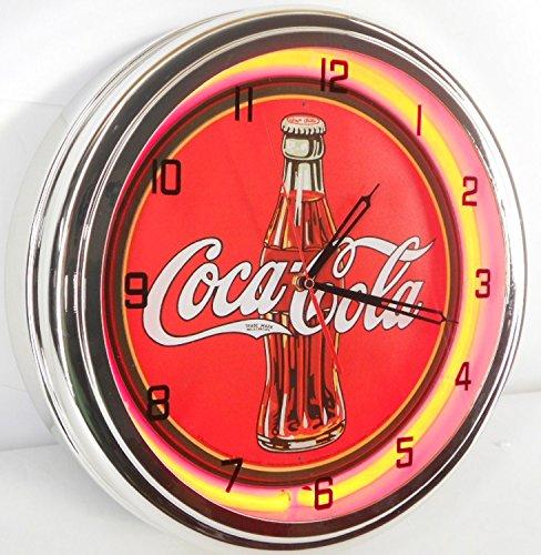 Coca Cola 15  Neon Wall Clock Lighted Sign Soda Pop Shop Coke Bottle Logo Vintage Retro Style Red