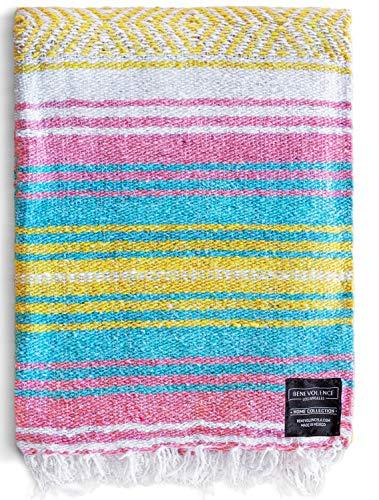 Authentische mexikanische Decke – Stranddecke, handgewebte Serape-Decke, perfekt als Stranddecke, Picknickdecke, Outdoor-Decke, Yoga-Decke, Campingdecke, Autodecke, gewebte Decke (Sonnenaufgang)