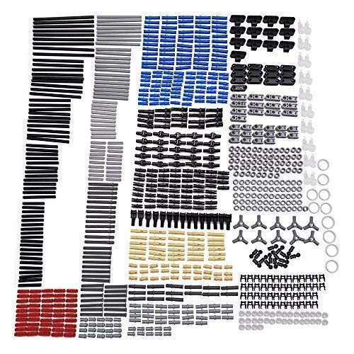 LOONGON Technic Axle Rubber Band Pins Bush Round Plate Round Brick Plate Bionicle Tooth Link Chain Connector Pole Reverser Handle-882 Pieces Axle Chain Link Connectors Bricks Sets for Technic Parts