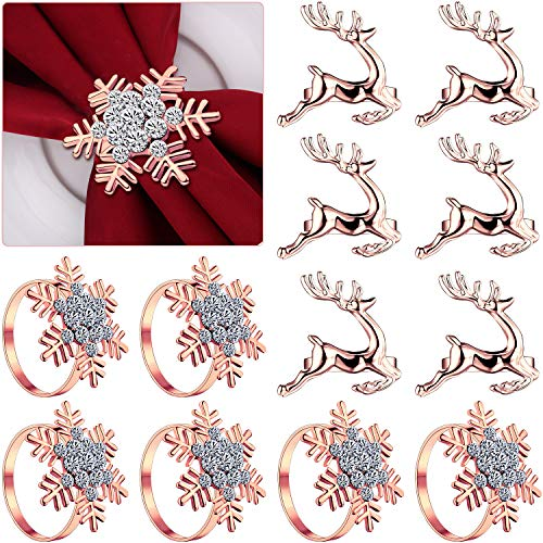 12 Pieces Christmas Napkin Rings Set, 6 Pieces Elk Chic Napkin Rings and 6 Pieces Rhinestone Snowflake Napkin Rings for Christmas Wedding Birthday Party Supplies (Rose Gold)
