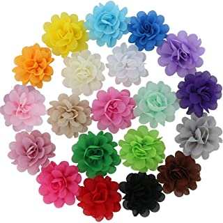 QingHan Chiffion Hair Flowers For Girls Teens Bows Lined Clips 20 colors