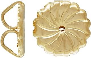 JensFindings 10 Qty. 14k Gold Filled Large Premium Earring Backs (9.2x9.4mm Earnuts) Swirl