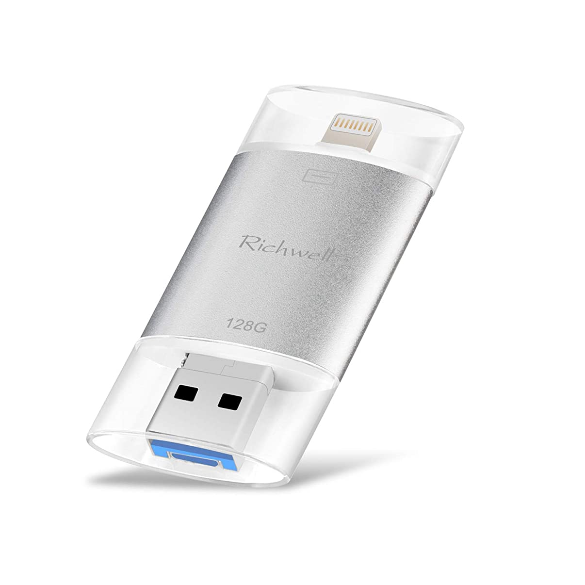USB Drive for iPhone Flash Drive 128GB USB3.0 Memory Stick External Storage 3in1 Thumb Drive Richwell Compatible iPhone iPad Mac Android and Compute(Silevr128G-SG)