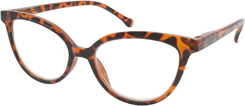 TBOC Gafas de Lectura Presbicia Vista Cansada - Graduadas +1.50 Dioptrías Montura de Pasta [Carey] de Diseño Moda para Mujer Lentes de Aumento para Leer Ver de Cerca con Bisagra Muelle