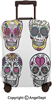Travel Luggage Cover Spandex Suitcase,Colorful Ornate Mexican Sugar Skull Set with Flower and He Pattern Calavera Humor Multi,23.6x31.9inches,Protector Carry On Covers with Zipper