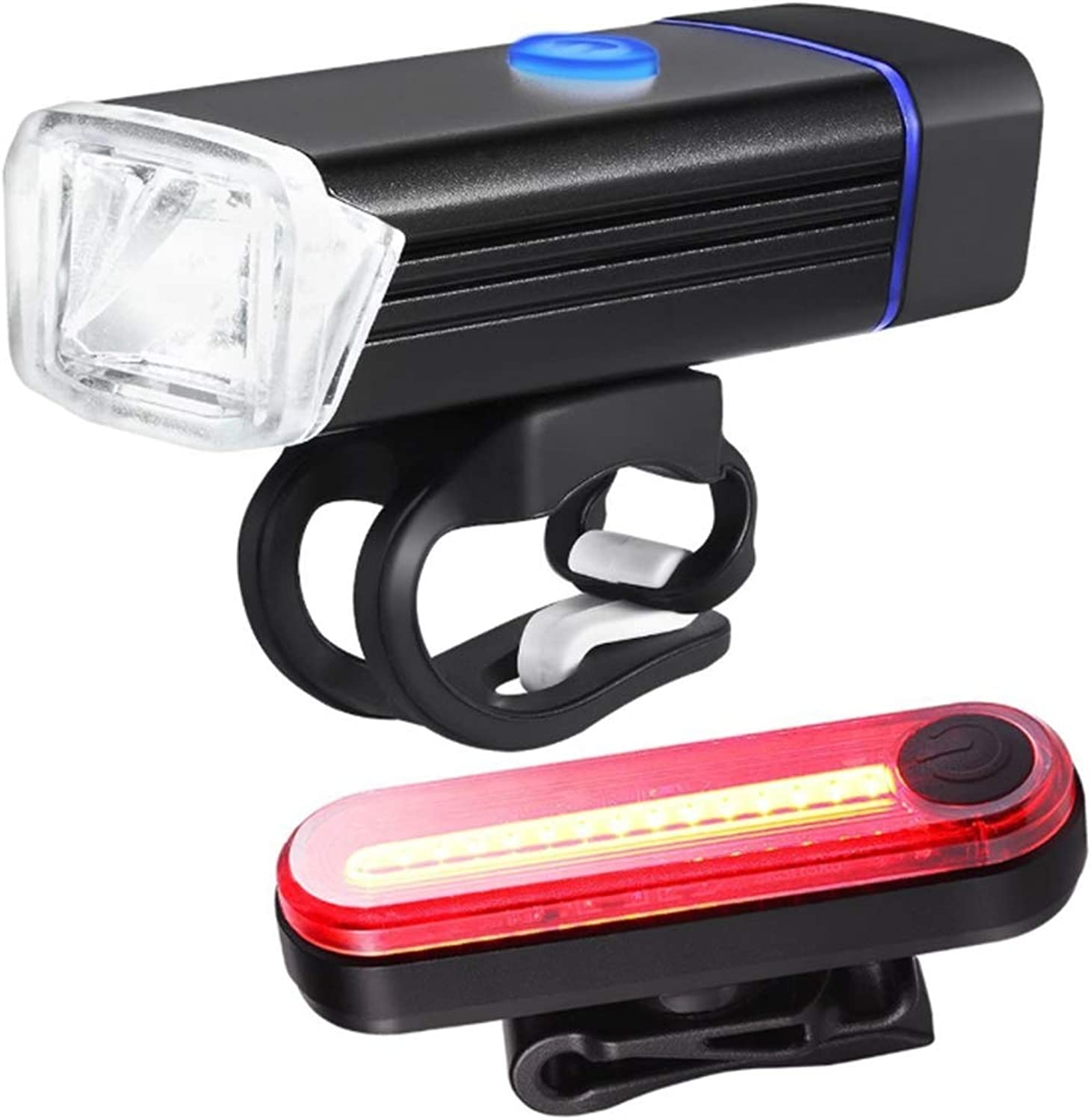 USB Rechargeable Bike Light Set Powerful Lumens Bicycle Headlight Free Tail Light, LED Front and Back Rear Lights Easy to Install for Kids Men Women Road Cycling Safety Flashlight
