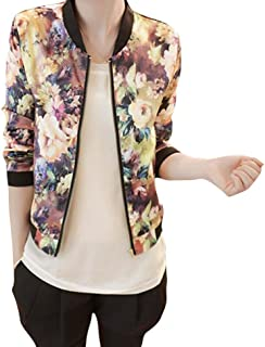 Gillberry Women's Jacket Women's Stand Collar Zipper Floral Bomber Jacket